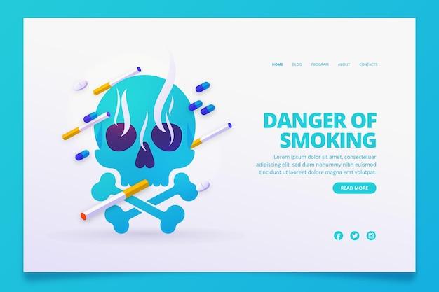 Peligro de fumar página de destino