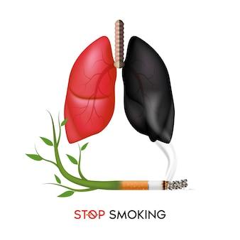 Peligros de fumar efecto del tabaquismo en el pulmón humano. banner del día mundial sin tabaco