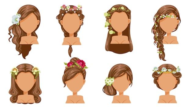Pelo de la flor peinado de novia, accesorios de princesa. peinado hermoso moda moderna para el surtido. corte de pelo largo, corto y rizado, a la moda.