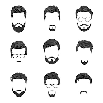 Pelo hipster, bigotes y barbas. ilustración de vector de estilo hipster