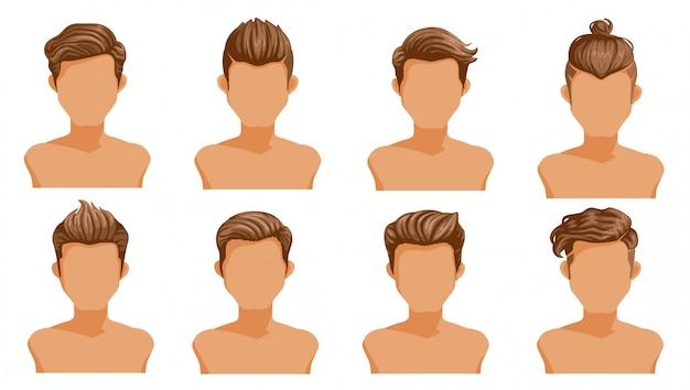 Pelo de los hombres. conjunto de hombres de dibujos animados peinados. colección de estilos elegantes de moda.