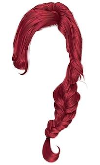 Pelos de mujer de moda de color rojo. trenza.