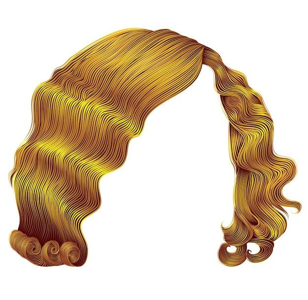 Los pelos de mujer de moda son de color amarillo brillante. rizos de estilo retro. 3d realista.