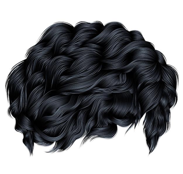 Pelos rizados de moda morena de colores negros. longitud mediana