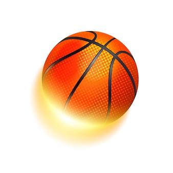 Pelota de baloncesto en el fuego. efectos brillantes y brillantes con transparencias.