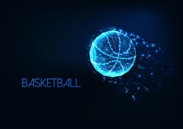 Pelota de baloncesto poligonal brillante futurista