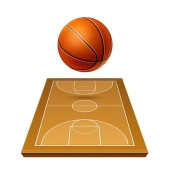 Pelota de baloncesto realista en modelo de patio de juegos para apuestas deportivas