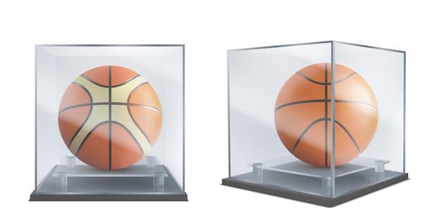 Pelota de baloncesto bajo vector realista de la caja de cristal