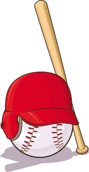 Pelota de béisbol con casco y bate