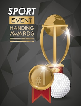 Pelota deportiva de golf y trofeo