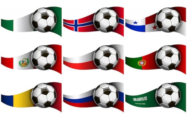 Pelota de futbol y banderas