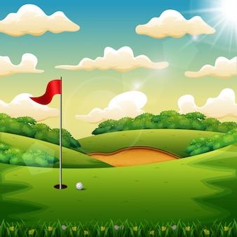 Pelota de golf y una bandera en la colina verde