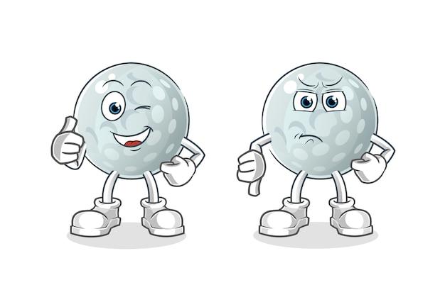 Pelota de golf pulgares arriba y pulgares abajo de dibujos animados. mascota de dibujos animados