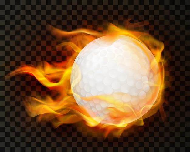 Pelota de golf realista en fuego