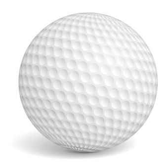 Pelota de golf sobre fondo blanco