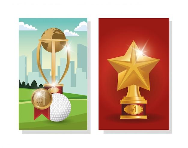 Pelota de golf con trofeos