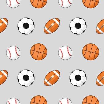 Pelota de patrones sin fisuras fútbol, baloncesto, fútbol en gris.