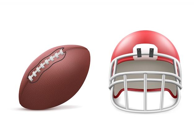 Pelota de rugby y casco rojo con mascarilla y almohadilla