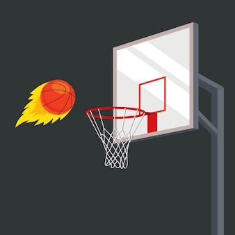 La pelota vuela hacia una canasta de baloncesto con gran fuerza. ilustración vectorial plana
