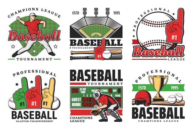 Pelotas de béisbol, bates deportivos, trofeos, jugadores