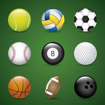 Pelotas de deportes sobre fondo verde ilustración vectorial