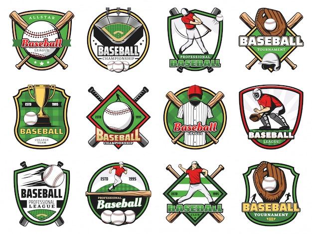 Pelotas deportivas de béisbol, bates, jugadores, campo de estadio