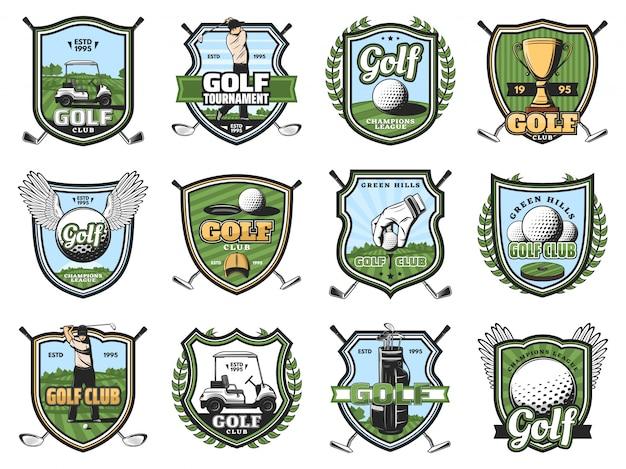 Pelotas deportivas de golf, palos y golfistas, trofeo, tee