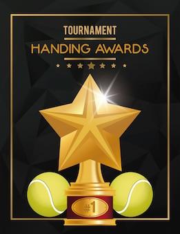 Pelotas deportivas de tenis y trofeo