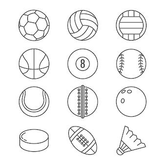 Pelotas deportivas vector de iconos de línea delgada.