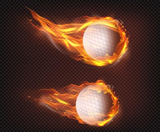 Pelotas de golf volando en fuego realista vector