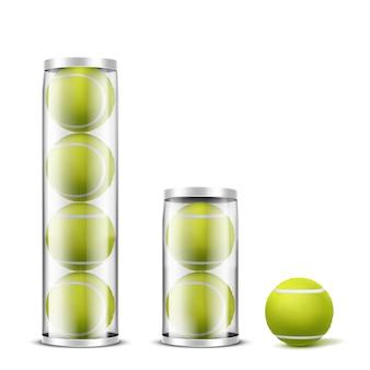 Pelotas de tenis en latas de plástico vector realista
