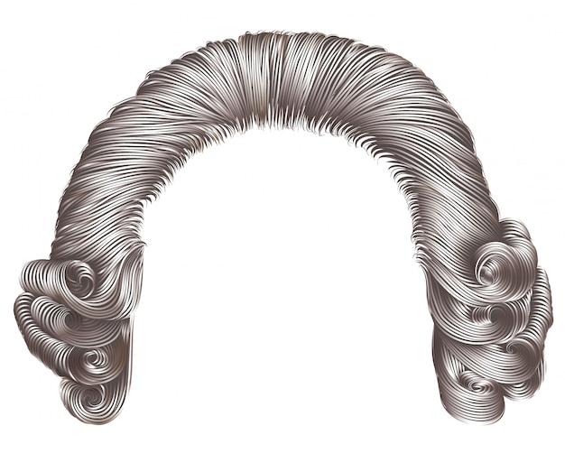 Peluca de hombre rizos de cabello gris. estilo rococó medieval.