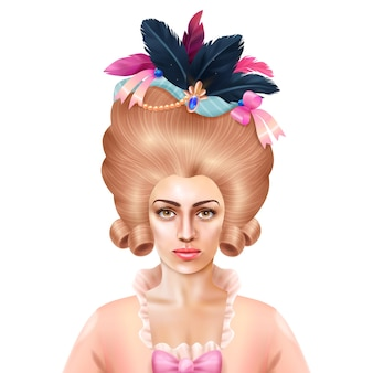Peluca de mujer elegante y juguetona del siglo xviii con plumas de colores