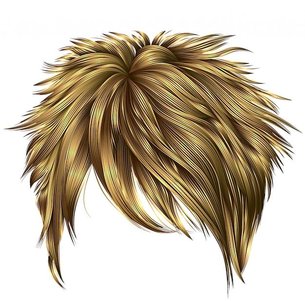 Peluca de mujer de moda con cabello rubio corto