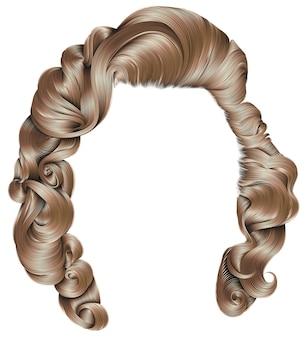 Peluca de pelo de mujer, retro rizado