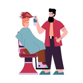 Peluquería haciendo corte de pelo por fuego una ilustración