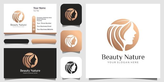 La peluquería de mujer de belleza creativa se combina con el concepto de naturaleza, el logotipo y el diseño de tarjetas de visita.