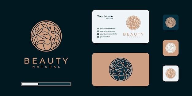 La peluquería de mujer de belleza creativa se combina con el concepto de naturaleza, el logotipo y la tarjeta de visita.