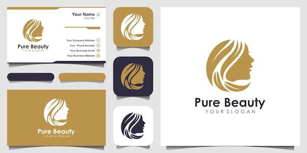 Peluquería de mujer con logotipo de concepto de naturaleza y tarjeta de visita.