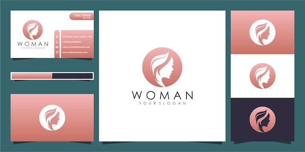 Peluquería de mujer con logotipo de concepto de naturaleza y tarjeta de visita