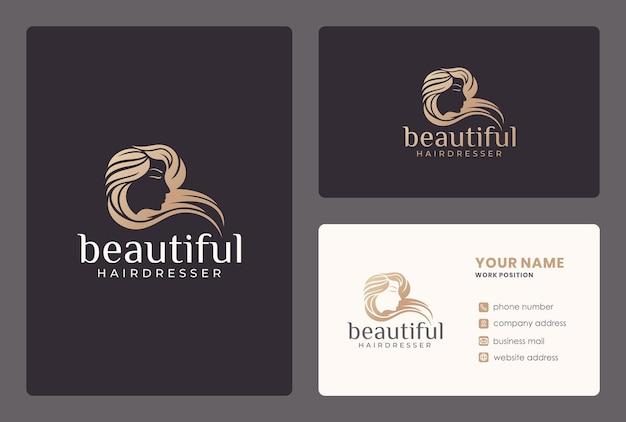 Peluquería, salón de belleza, rostro de mujer, diseño de logotipo de cuidado de la piel con plantilla de tarjeta de visita.