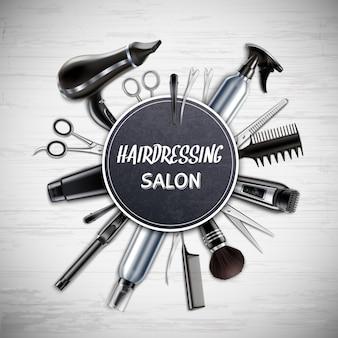Peluquería salón peluquería herramientas realista composición redonda con tijeras secador de pelo recortador monocromo ilustración vectorial