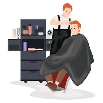 Un peluquero arregla el cabello de sus clientes con varias herramientas.