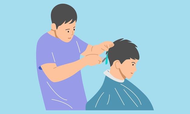 Peluquero profesional haciendo corte de pelo a un cliente en peluquería