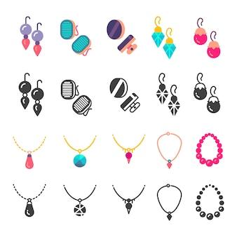 Pendientes, gotas para los oídos e iconos de collar