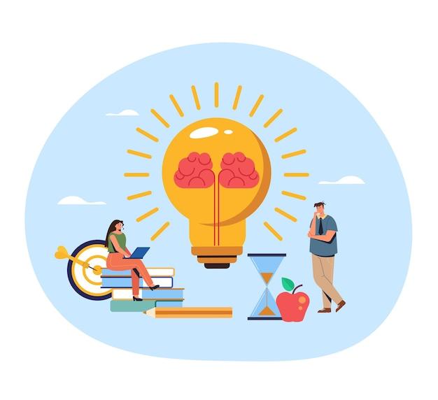 Pensamiento de carácter de trabajadores de oficina de personas. concepto de idea de cerebro.