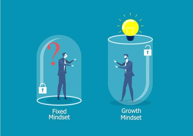 Pensamiento diferente de dos hombres de negocios entre mentalidad fija y concepto de éxito de mentalidad de crecimiento
