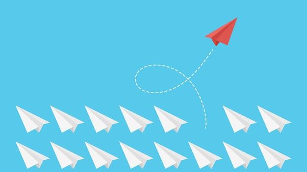 Pensamiento diferente. líder empresarial, metáfora del crecimiento de la personalidad. avión de papel volando, elección de otro concepto de vector de forma. liderazgo diferente, ilustración de avión de papel metáfora empresarial