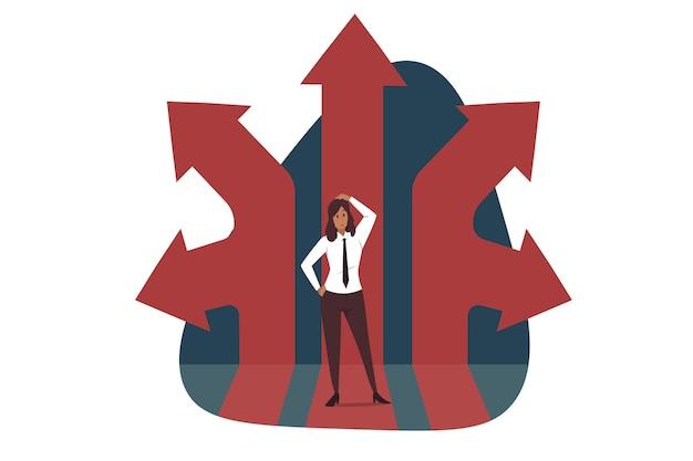Pensamiento, dirección, negocios. el personaje de administrador de dibujos animados de jefe de empresaria pensativa está rodeado de diferentes direcciones.