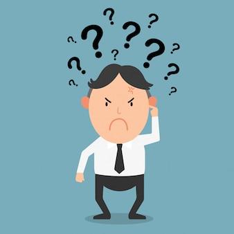 Pensamiento empresarial con signos de interrogación.